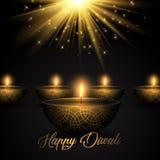 Diwali bakgrund med olje- lampor på starburstbakgrund royaltyfri illustrationer