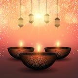 Diwali bakgrund med olje- lampor på stjärnklar bakgrund stock illustrationer