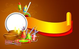 Diwali Banner. Easy to edit vector illustration of Diwali banner with diya and firecracker