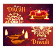 Diwali Banners Set. Beautiful happy diwali horizontal banners set with accessories for holiday realistic isolated vector illustration Stock Photography