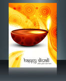 Diwali with beautiful lamps on artistic brochure template Royalty Free Stock Images