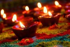 Diwali beleuchtet Festivalfarbe-devine reine Seele Gott-Friedensruhe Lizenzfreie Stockbilder