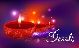 Diwali beröm, garnering för oljalampa med den hinduiska religionen för blom- mandala, ljus skinande festlig suddighetsbakgrundsve stock illustrationer