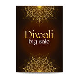 Diwali big sale banner. Indian festival of lights. Coupon with gold glitter shiny floral mandala. Special discount offer. Realistic gold sequins with blinks Stock Photography