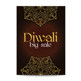 Diwali big sale banner. Indian festival of lights. Flyer with gold glitter shiny floral mandala. Special discount offer. Realistic gold sequins with blinks Royalty Free Stock Images