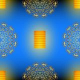 Diwali blue seamless vector pattern with golden mandala. Diwali blue seamless vector pattern with golden mandala, eps 10 vector illustration