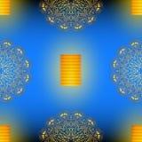 Diwali blue seamless vector pattern with golden mandala. Vector Illustration