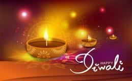 Diwali, célébration brillante légère d'or, décoration de lampe à pétrole avec f illustration libre de droits