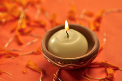 Diwali candle. A candle for Diwali (a Hindu) festival Stock Photos