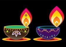 Diwali Candle Light. Indian new year celebrating oil lamp illustration design Stock Images