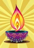 Diwali Candle Light. Indian new year celebrating oil lamp illustration design Royalty Free Stock Photo