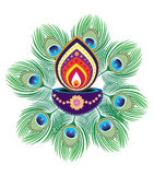 Diwali candle light. And peacock feather graphic illustration stock illustration