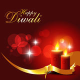 Diwali candles. Beautiful diwali candle on shiny red background stock illustration