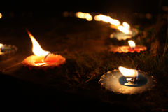 Diwali Candles. Traditional candles lit in a garden on teh occassion of Diwali festival in India