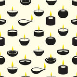 Diwali candles with flame icons seamless pattern Royalty Free Stock Photo