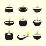Diwali candles with flame icons set Stock Photography