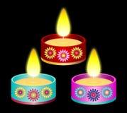 Diwali Candles Set. A Set of three Beautiful Diwali Candles royalty free illustration