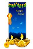 Diwali Card. Illustration of burning diya with hanging lamp in diwali card