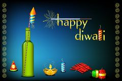 Diwali Card. Illustration of diwali card with fire cracker and diya Royalty Free Stock Photo