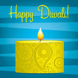 Diwali Card. Bright blue and yellow Diwali card in  format Royalty Free Stock Images