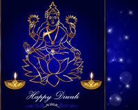 Diwali card design, diya with laxmi background Stock Photo