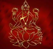 Diwali card design, diya with laxmi background. Vector eps10 stock illustration
