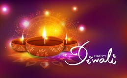 Diwali, celebração, decoração da lâmpada de óleo com mandala floral Hin ilustração royalty free