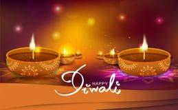 Diwali, celebración brillante del festival de la chispa ligera de la manera del oro, decoración de la lámpara de la vela del acei libre illustration