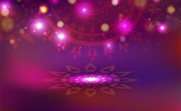 Diwali, celebración, decoración con el estilo creativo hindú de la textura de la mandala floral, vector brillante ligero del fond libre illustration