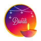 Diwali celebration background decorated with illuminated oil lam. P Diya and hanging bunting lights. Can be used as greeting card design vector illustration
