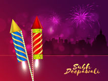 Diwali celebration background with firecrackers. Creative festive background with glossy firecrackers (Rocket) and Silhouette of Temple for Indian Festival of Stock Photography