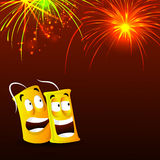 Diwali celebration background with firecrackers. Happy Diwali celebration festive background with funny firecracker and firework explosion, Vector illustration Stock Images