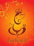 Diwali celebration background,  illustration. Floral decorated corner background with ganpati theme illustration for traditional indian festival Stock Images