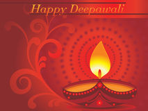 Diwali celebration background,  illustration. Abstract red floral background with  burning diya  for indian festival diwali Royalty Free Stock Photos