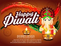 Diwali Celebration Background With Lord Ganesha Stock Photos