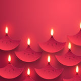 Diwali celebration background with Oil Lamps (Diya). Stock Image