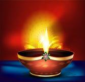 Diwali celebration background with vector deepak. Vector illustration Royalty Free Stock Photography