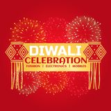 Diwali celebration sale banner with fireworks and hanging lamps Royalty Free Stock Images