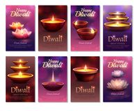 Diwali Celebration Vertical Cards. With burning letterings and festive oil lamps on blurred background isolated vector illustration Royalty Free Stock Images