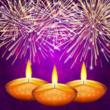 Diwali colorful background. Traditional Indian festival - Diwali colorful background with lamp and fireworks Royalty Free Stock Images