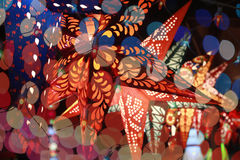 Diwali Colorful Lighting. Start shaped lantern line through the colorful blur decoration lights during an Indian festival Royalty Free Stock Photo