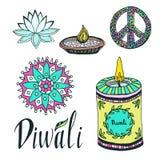 Diwali colorful signs collection. Lotus, rangoli, diya and peace hand drawn symbol Stock Images