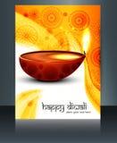 Diwali con las lámparas hermosas en plantilla artística del folleto