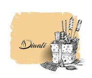 Diwali crackers for Diwali gift. Hand Drawn Sketch Vector Royalty Free Stock Photography