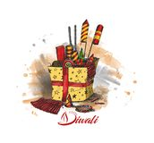 Diwali crackers for Diwali gift. Hand Drawn Sketch Vector Stock Photography