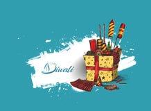 Diwali crackers for Diwali gift. Hand Drawn Sketch Vector Stock Photo