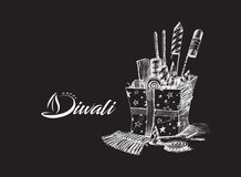 Diwali crackers for Diwali gift. Hand Drawn Sketch Vector Stock Image