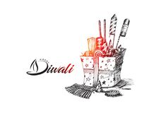 Diwali crackers for Diwali gift. Hand Drawn Sketch Vector Royalty Free Stock Photo