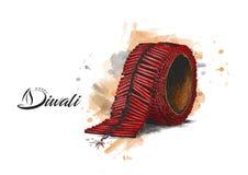 Diwali crackers, Hand Drawn Sketch. Vector illustration Stock Photo