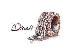 Diwali crackers. Hand Drawn Sketch Vector illustration Stock Photo